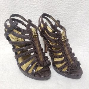 5/$15 Wild Rose Brown Snake Skin Strappy Heels